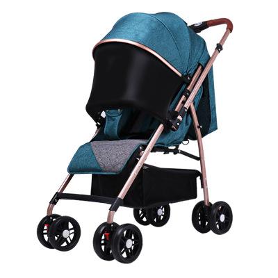 Xe đẩy trẻ em có thể ngồi và nằm dài 4 bánh xe .