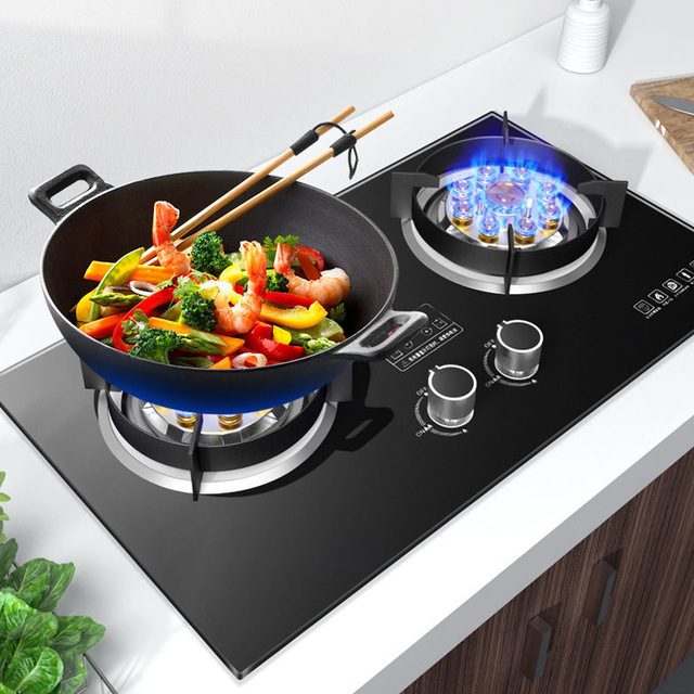Nine chamber high fire gas stove double stove household liquefied gas tabletop embedded gas stove na
