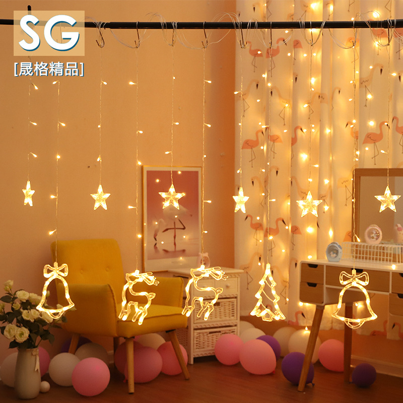SHENGGE Decorative lights string ins net red creative star curtain lights Garden Festival Christmas