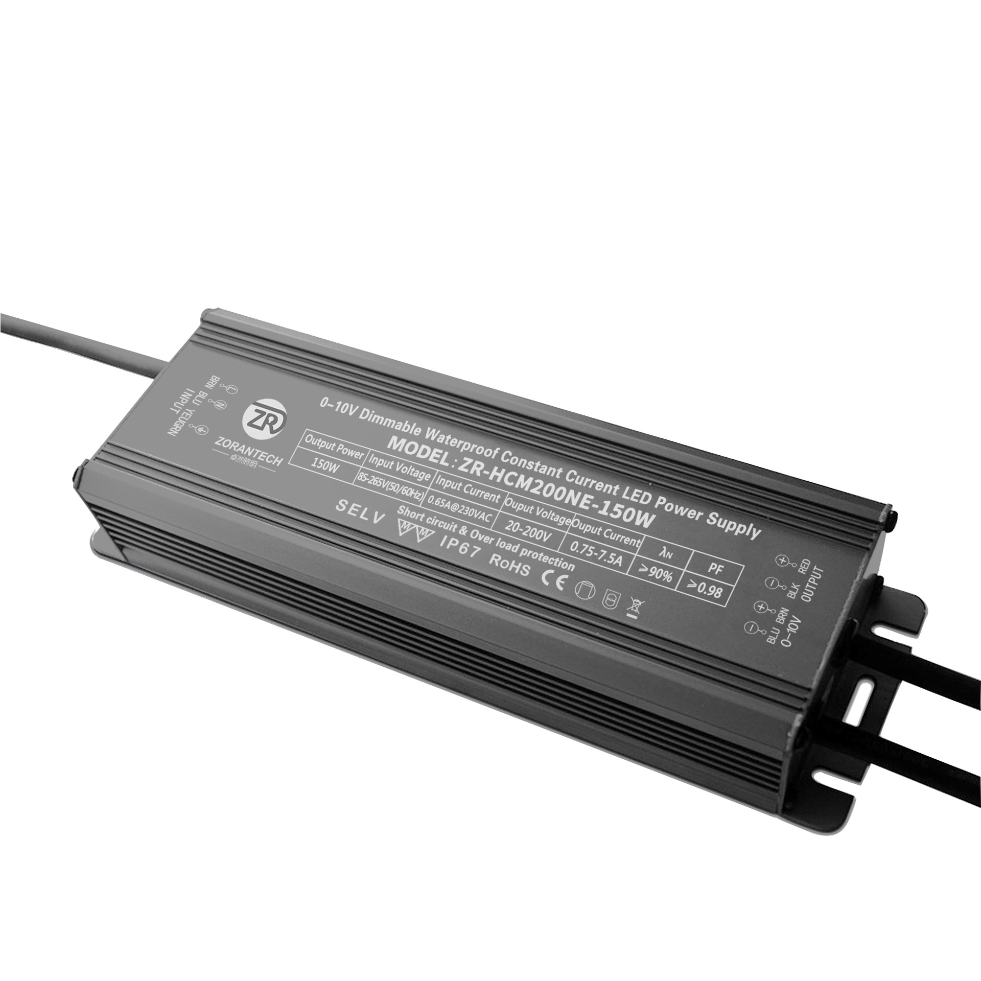 ZORANTECH New 1-10V dimming power 150W constant current PWM dimming power supply garden lamp waterpr