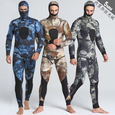 MYLEDI Áo nguỵ trang lính Bộ đồ câu cá ấm áp và không thấm nước 5mm ngụy trang mới dành cho nam giới