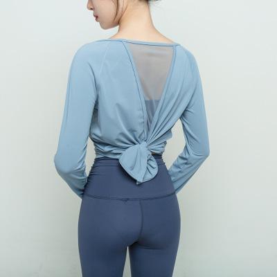 Shining&Fitness Áo thun mau khô Quần áo tập yoga lưới mùa thu dài tay quần áo tập thể dục thể thao c