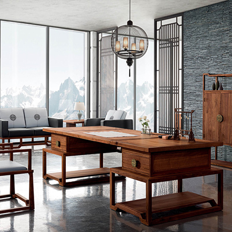 KEJIANG New Chinese style solid wood desk and chair combination Zen style large class table boss des