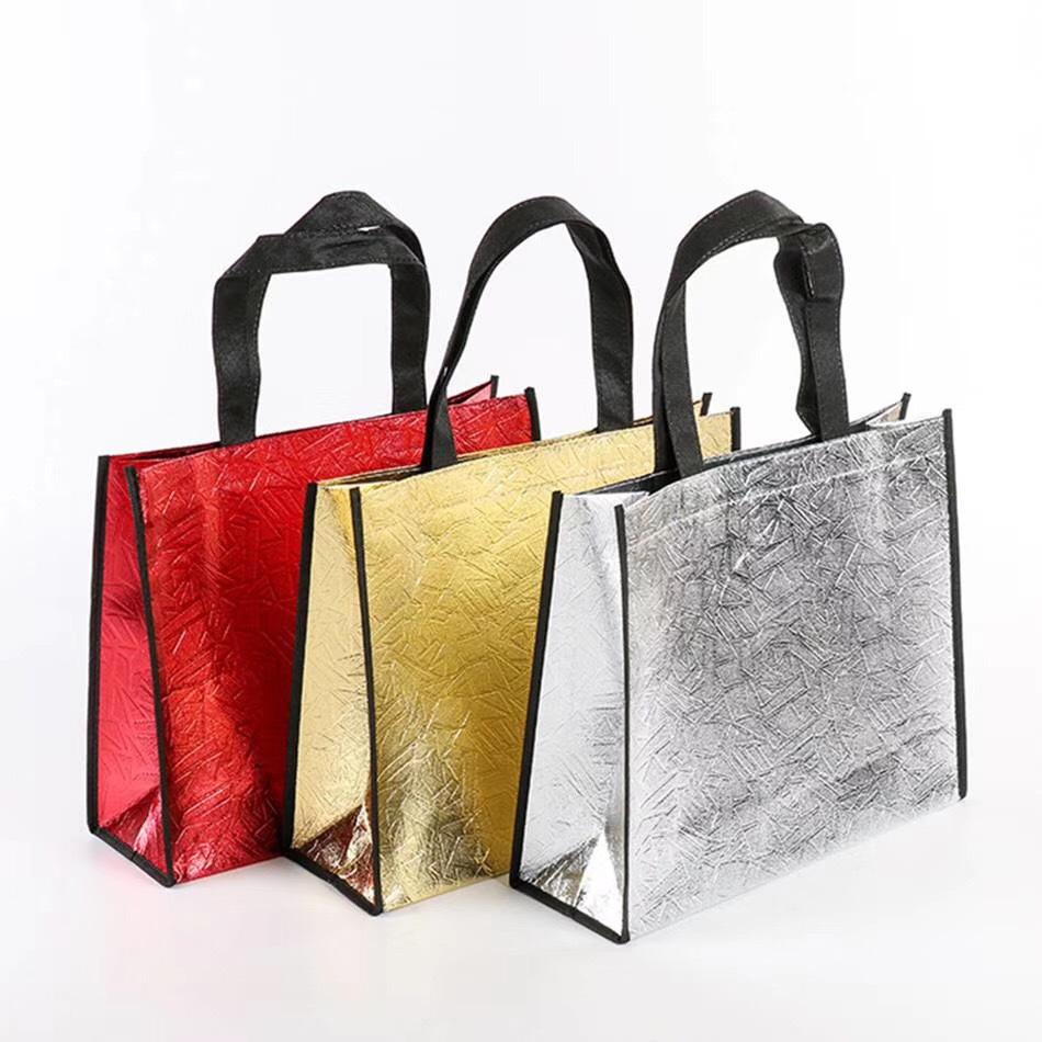 SIXIN Laser coated clothing gift packaging bag multi color non woven bag advertising shopping handba