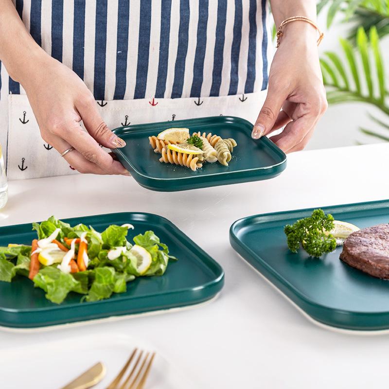 Nordic solid color square ceramic household steak plate dessert plate breakfast plate Western plate