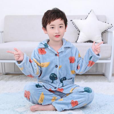 BBL Đồ Suits trẻ em Mùa thu và mùa đông mới bé quần áo pyjama SAN hô trẻ em dày bé trai bé gái flann