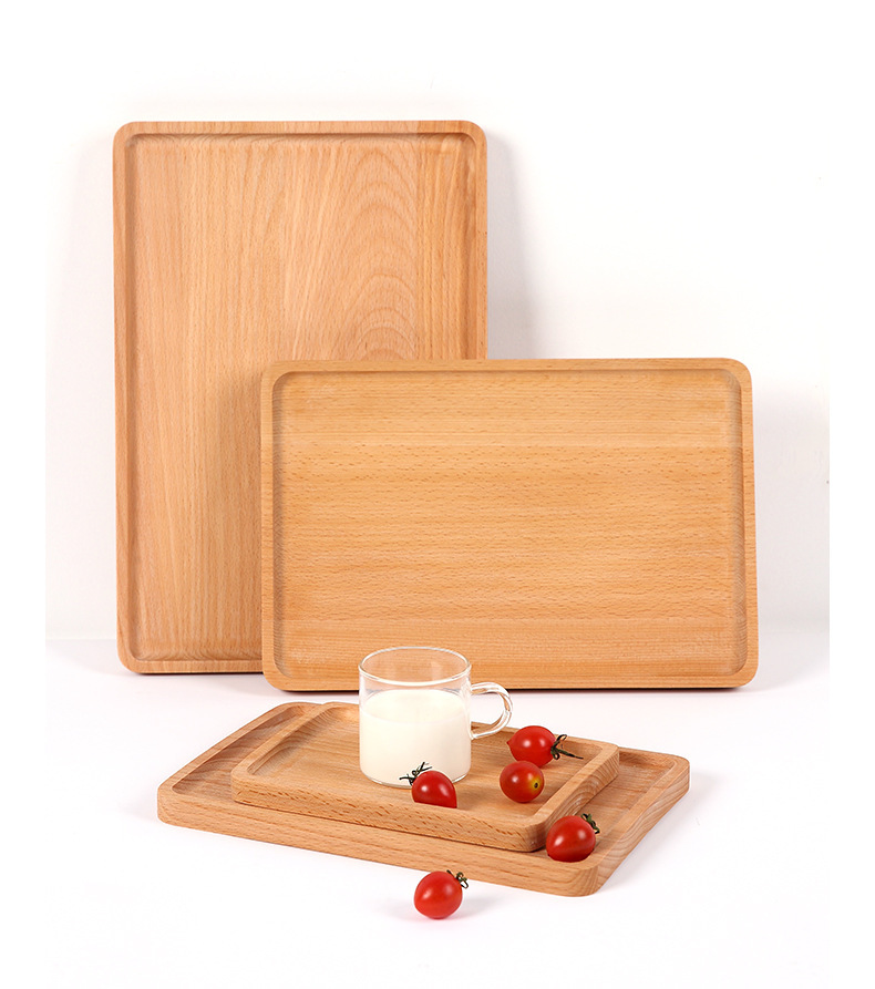 Wooden plate Japanese solid wood square tea plate barbecue cake Hotel wooden plate beech tray fruit