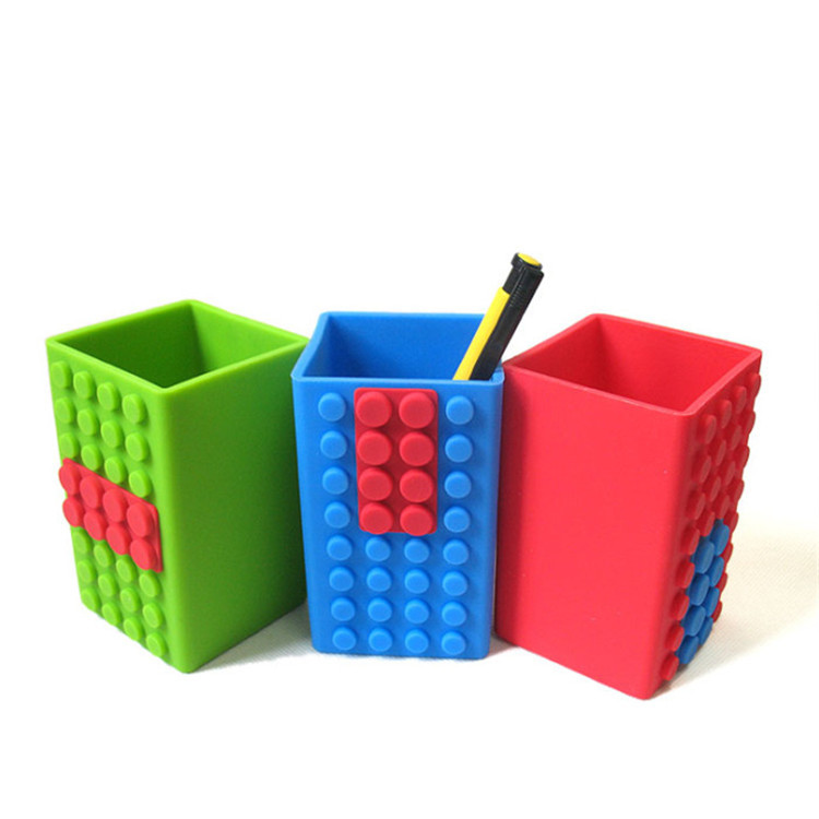 XK Customized creative silicone pen holder office supplies multi-functional pen holder four side car