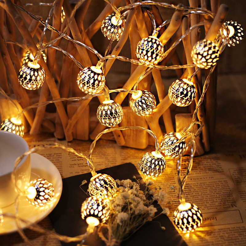 Cross border led hollow out Moroccan ball lamp string iron ball lantern Christmas romantic bar gift