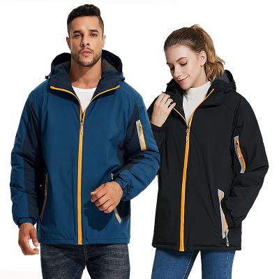 Quần áo leo núi Có mũ trùm đầu phản quang áo khoác ngoài trời mùa thu và mùa đông lông cừu ấm áp nam