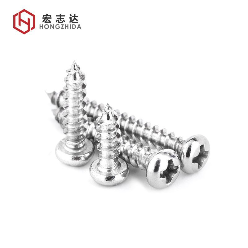 HONGZHIDA Nickel plated cross round head self tapping screw point tail self tapping screw PA small e