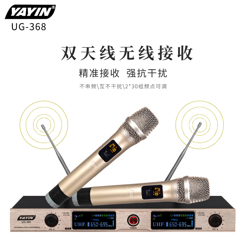 YAYIN New FM wireless microphone u section one with two wireless K song microphone family KTV confer