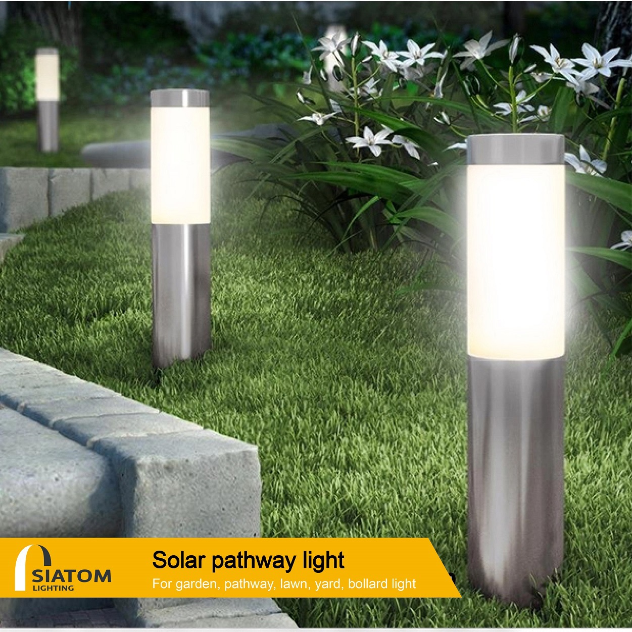 SAITONG Solar LED lawn lamp outdoor courtyard cylindrical cylindrical lamp garden waterproof plug-in