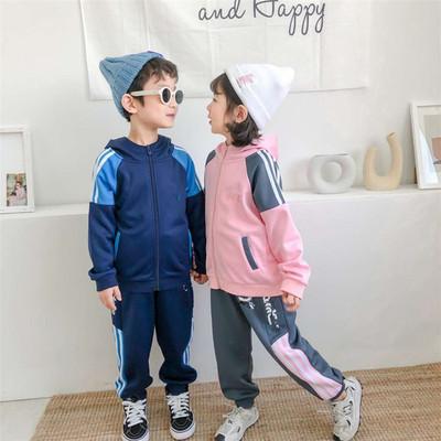 Đồ Suits trẻ em 950073 mùa đông mới lớn trẻ em lắc nanh zipper mũ quần áo trẻ em mùa thu và mùa đông
