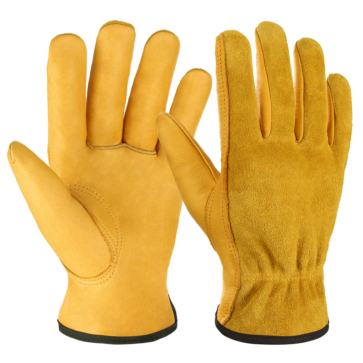 OZERO Aozhe leather double layer labor protection gloves full leather garden gloves safety protectio