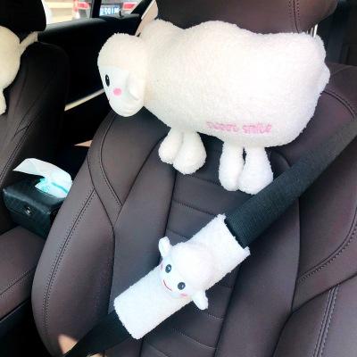 Gối đầu xe hơi Xe ô tô ghế cổ gối dễ thương dễ thương nhẹ nhàng cừu gối đầu tổng hợp hoạt hình mềm m