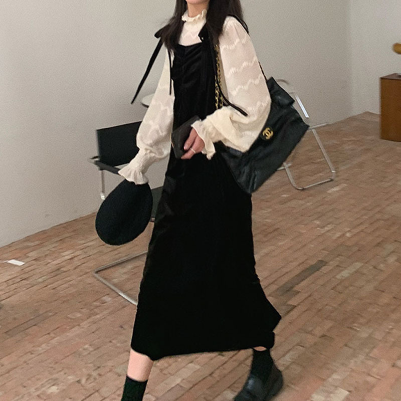 Suspender dress new autumn and winter small black dress in 2020