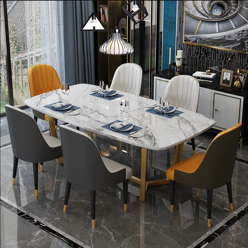 Post modern light luxury marble dining table chair Nordic minimalist dining table chair Hong Kong st