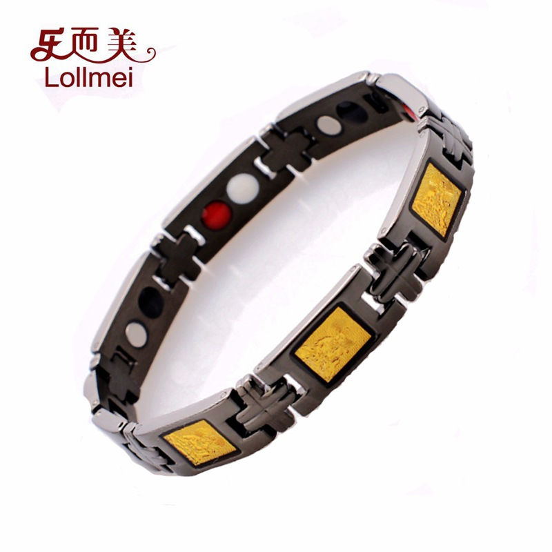 New fashion health care Bracelet Stainless Steel Religious Jewelry India gold plated germanium stone