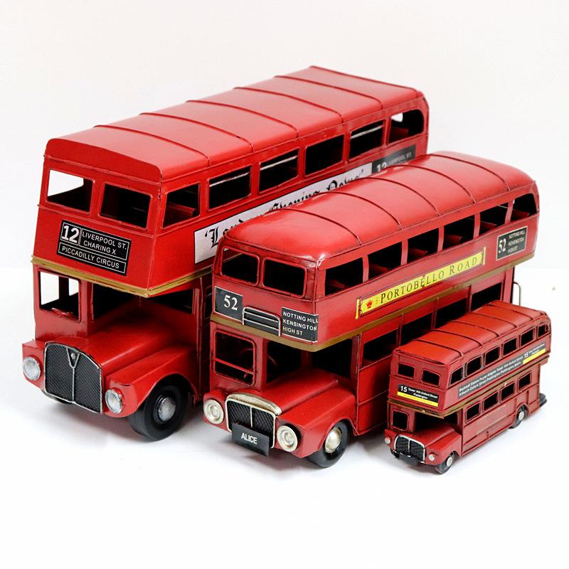 Classic London Double Decker Bus Model pure handmade iron model Zakka antique handicraft ornament