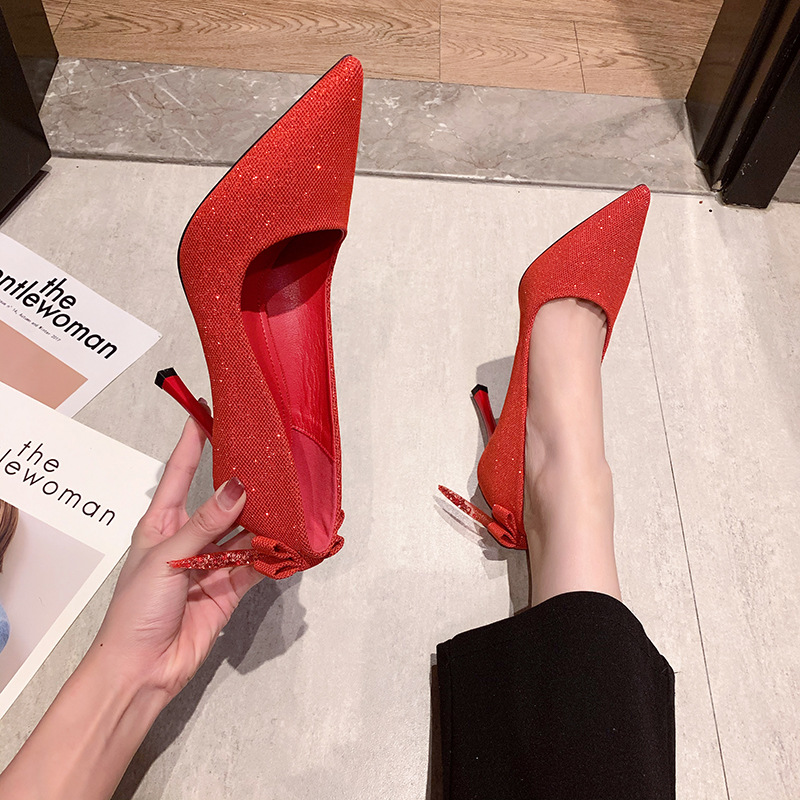 You can wear versatile spring and autumn 2020 new summer thin heel wedding shoes bowknot single shoe