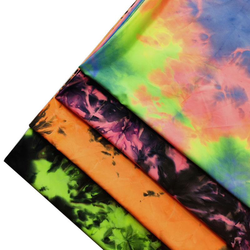 100D four side elastic printed calico tie dyed fried Chiffon printed fabric fashionable women's dre