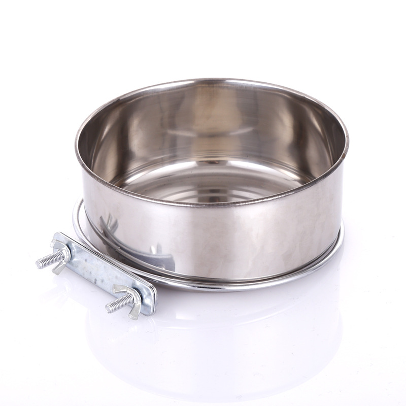 Pet bowl pet supplies stainless steel dog bowl dog cage hanging fixed dog Basin