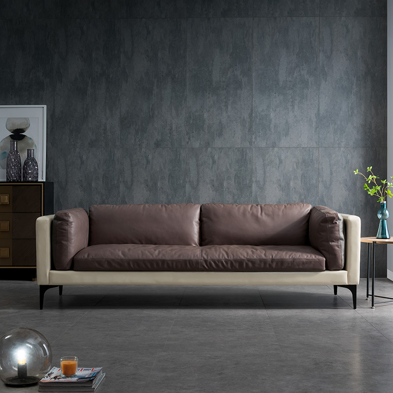 Nordic small family leather art industry spotlight leather postmodern furniture retro double three s