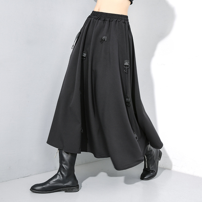 New splicing elastic waist skirt for 2019 winter wear dark personalized large irregular skirt 19-917