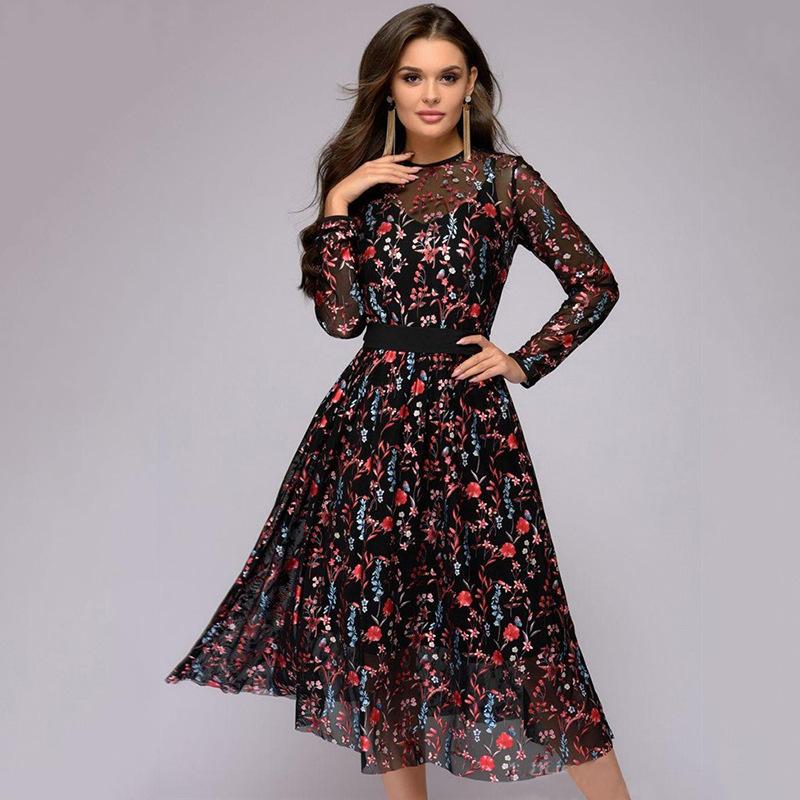 Two piece Digital Print Long Sleeve slim dress