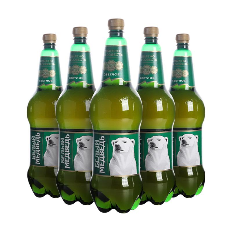 Imported bear brand beer Russian white bear light beer 1.5L * 6 bottles full box