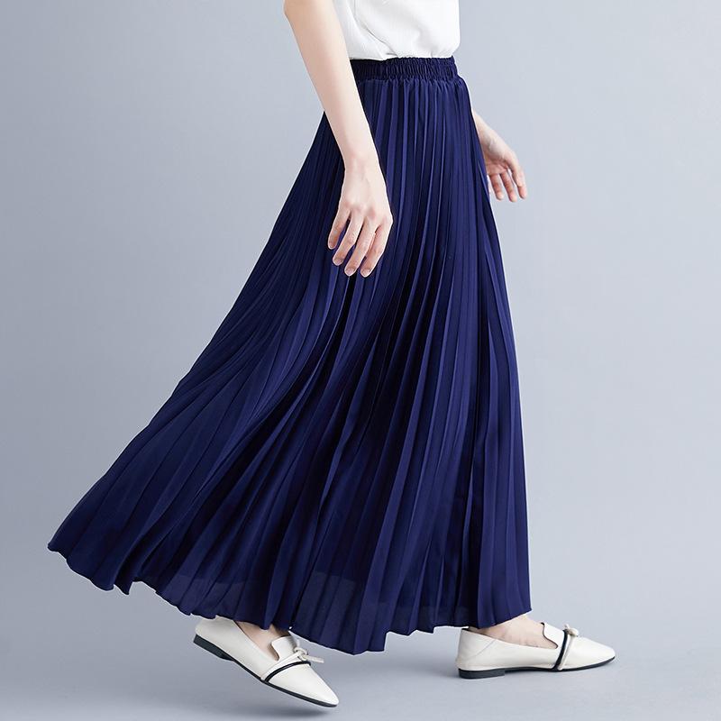 2019 new Korean solid color long large pleated skirt high waist skirt women's elastic waist skirt