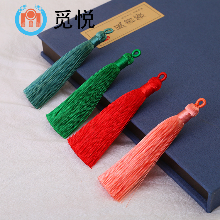 8cm pull loop tassel fringe artificial silk loop small tassel spike Chinese knot bookmark accessorie