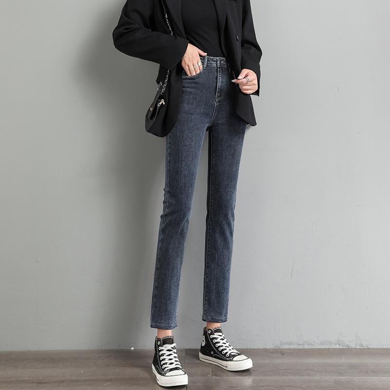 A+B Blue grey Plush straight jeans women's new autumn 2020 Korean high waist loose skinny wide leg