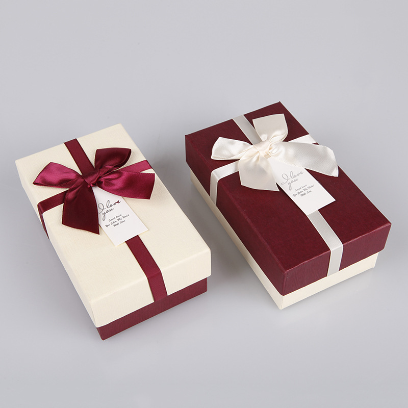 HAIDIE Christmas bow ribbon heaven and earth cover gift box Cosmetics Lipstick packaging box gift pa