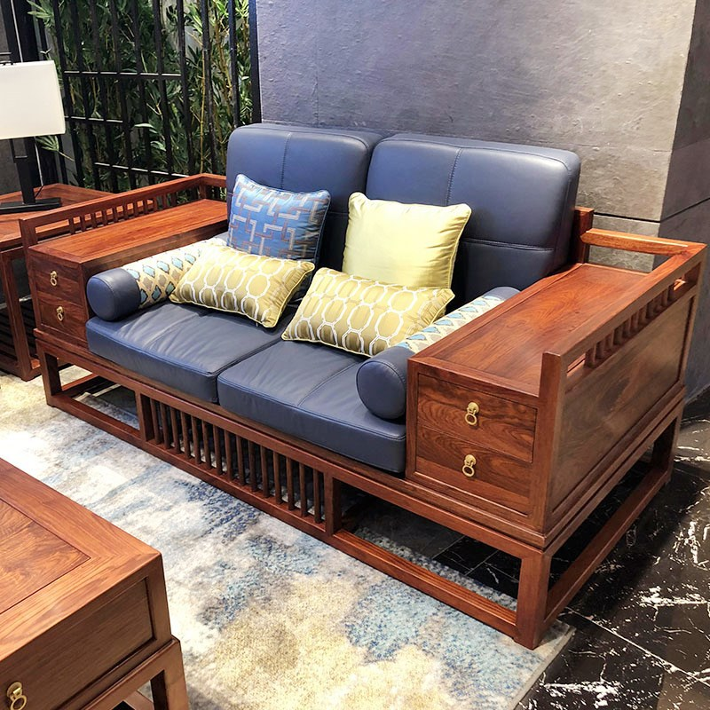 MINMU New Chinese sofa modern Chinese Zen living room hotel villa all solid wood cloth sofa combinat