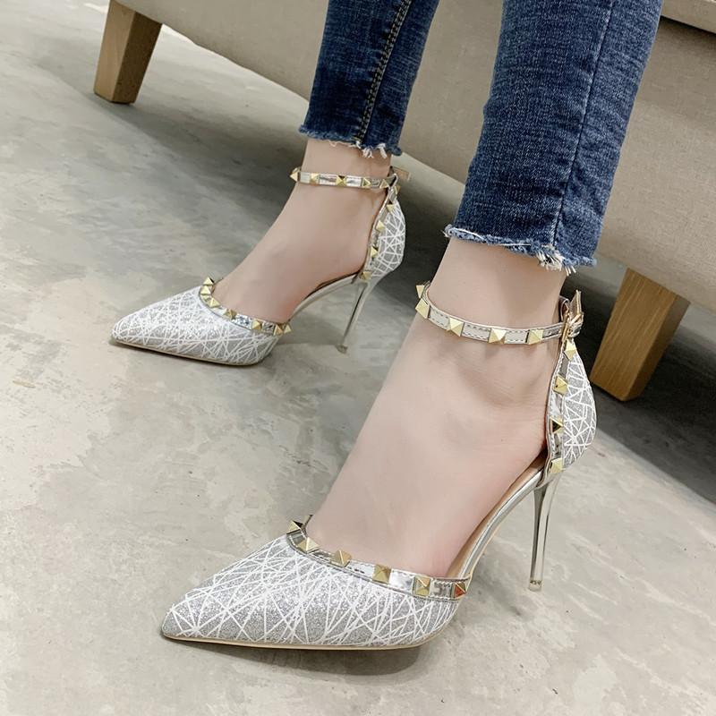 Zenvimi 9928-16 Korean rivet women's sandals pointed thin heel shoes night club style high heel wom