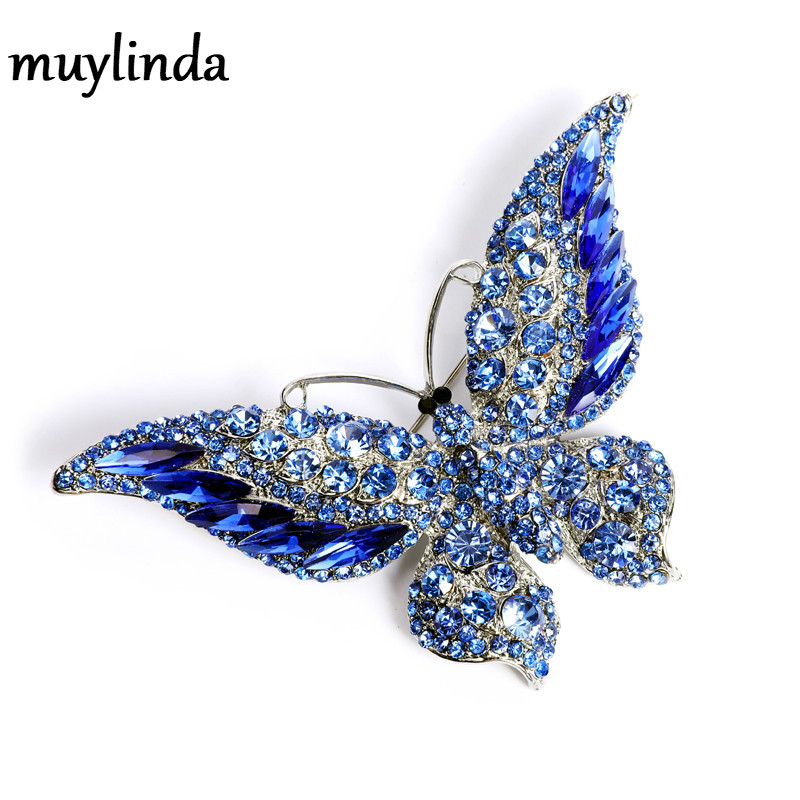 Retro new crystal butterfly brooch fashion animal insect lady Brooch top grade versatile coat access