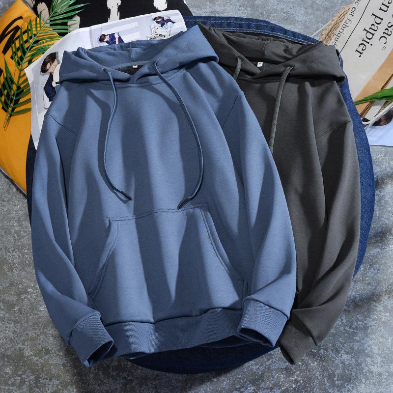 350g thick autumn / winter solid color Plush oversize off shoulder men's Hoodie