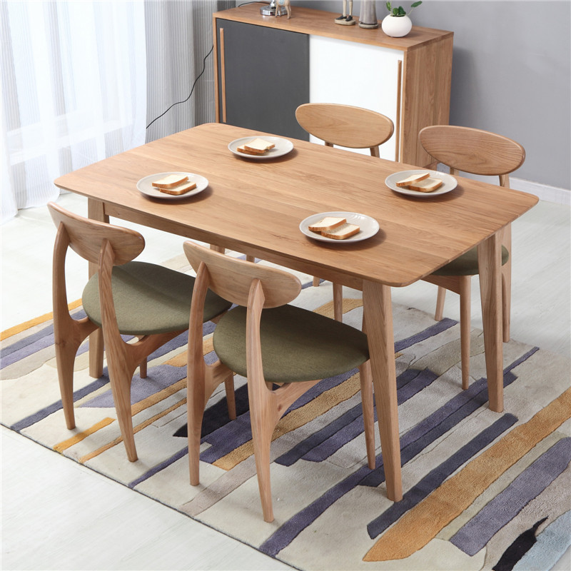 YOUYANG Nordic white oak dining table and chair combination restaurant one table with four or six ch
