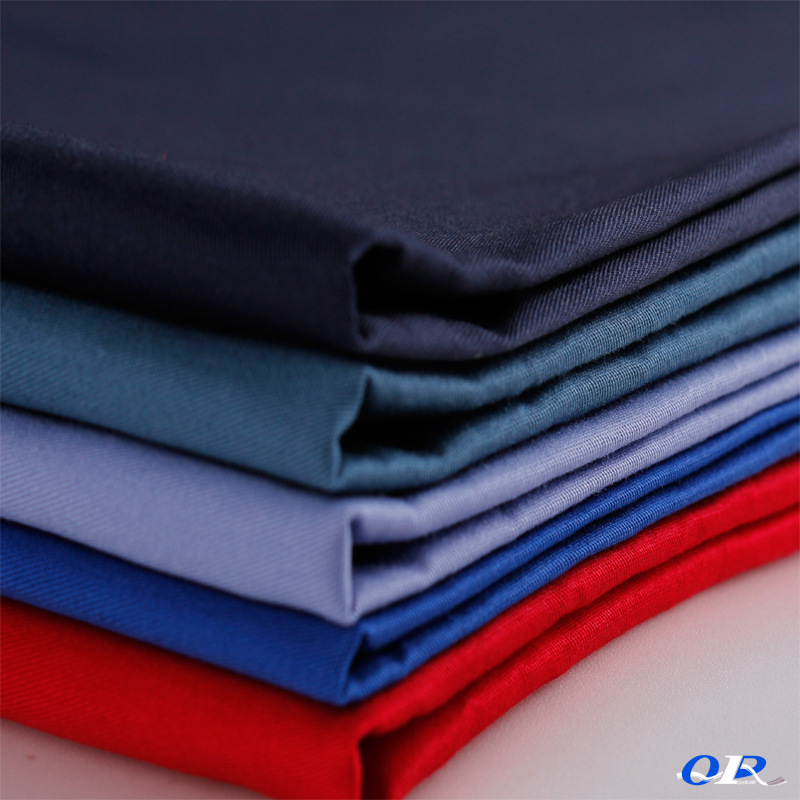 Double sided polyester card working clothes twill cloth pure color polyester cotton blended dyeing w