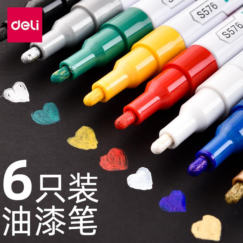 Deli stationery s576 paint pen white marking pen tire pen touch up paint pen art graffiti painting s