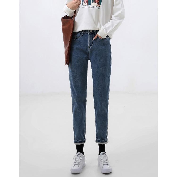 Jeans women 2020 new cashmere thin high waist loose straight tube wide leg harem radish autumn winte