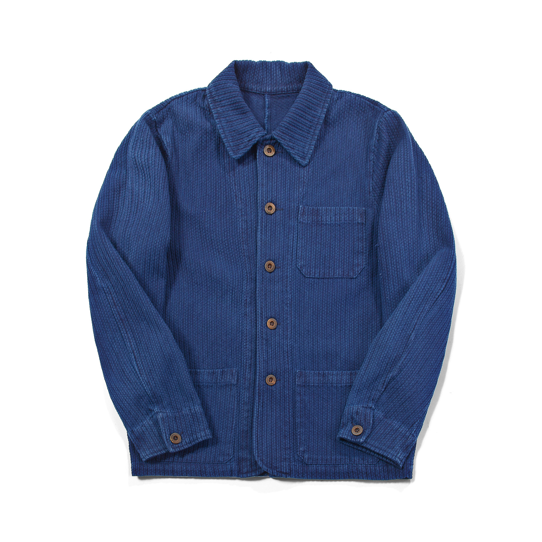 Badbowl Huang's weaving indigo hand-made plant blue dye coat French work jacket thorn long sleeve j