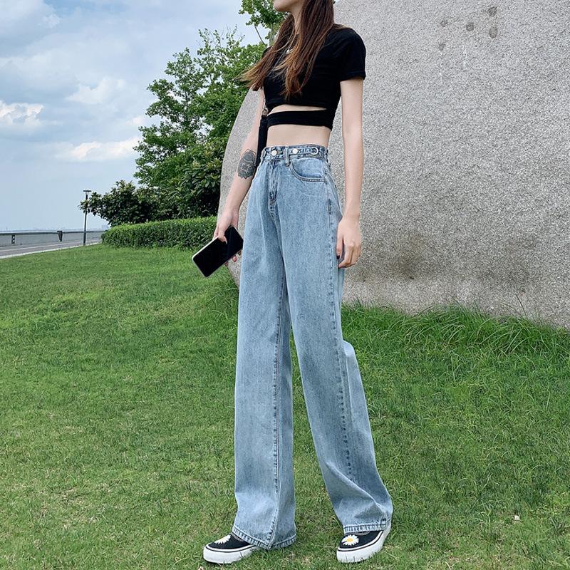 High Waist Wide Leg Jeans Women's trousers thick loose drape Plush winter wear light color elegant