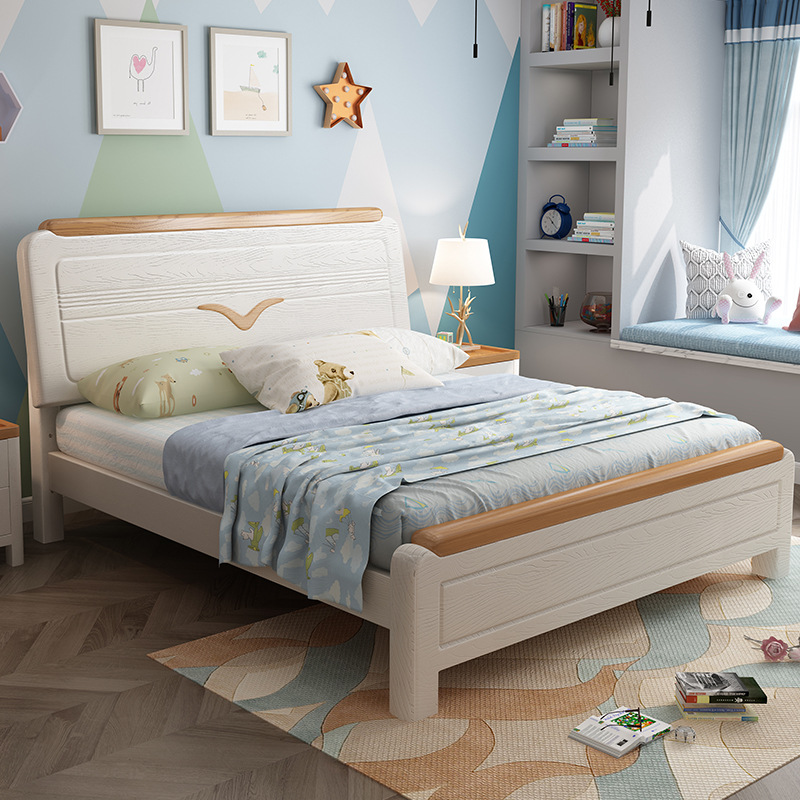 Nordic solid wood bed 1.8m double bed modern simple oak bed Nankang furniture solid wood bed