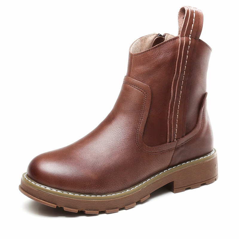 JLBM Retro Leather Boots women's new Mid Heel Martin boots in autumn and winter 2020