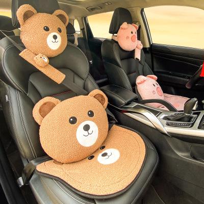 Bộ Gối đầu xe hơi , thắt lưng gối cổ , miếng lót hình mặt gấu dễ thương .