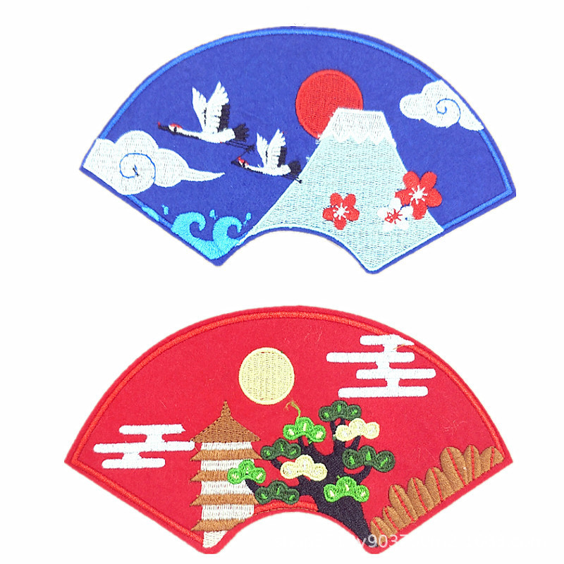 Computer embroidered cloth with fan-shaped embroidered BADGE PATCH back glue ironing decorative stic