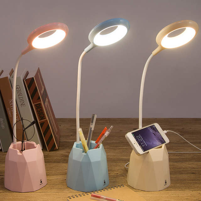 ZHANGE Charging small table lamp LED children bedroom bedside lamp creative pen holder touch reading